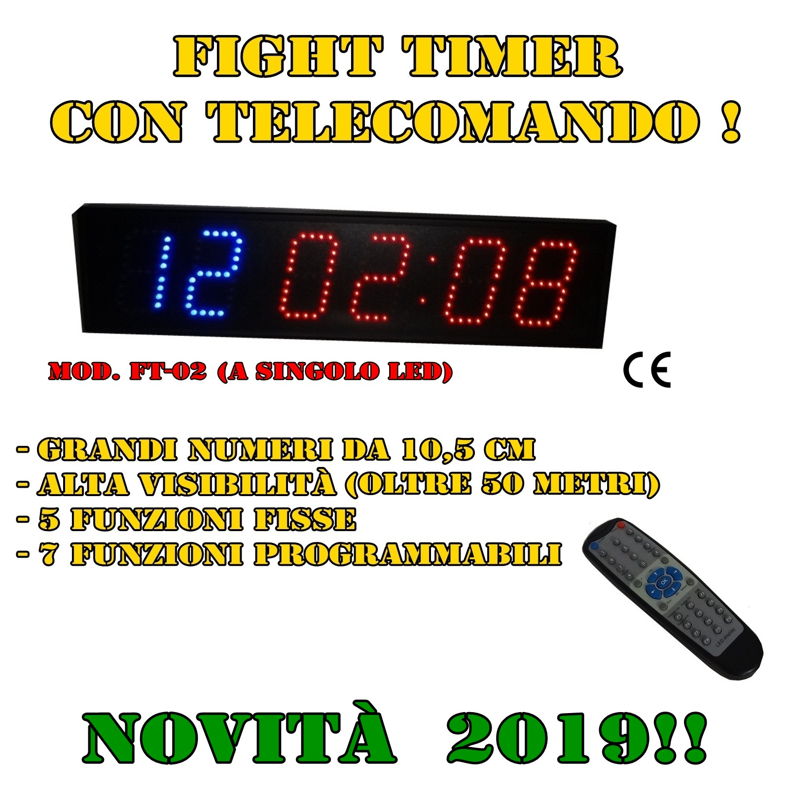 COD. FT-01_ Fight Timer - orologio-cronometro multifunzione